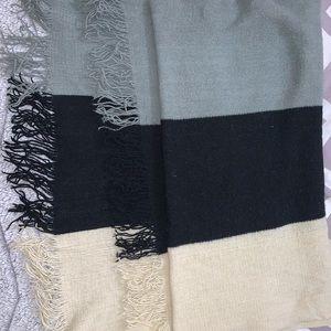 Cream, black, grey blanket scarf